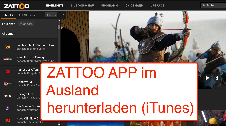 Zattoo App im Ausland herunterladen iTunes Store