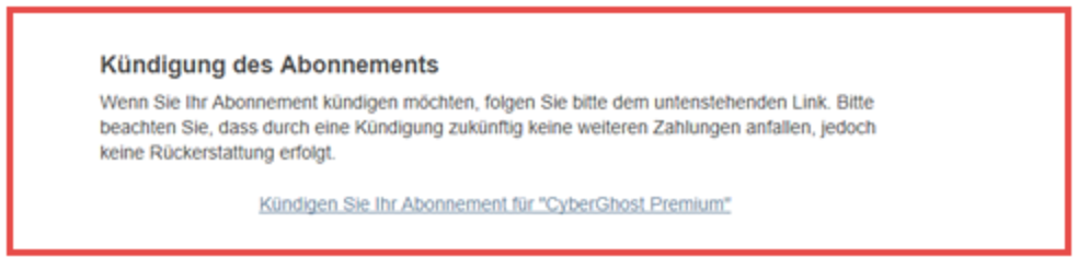 CyberGhost Kündigung