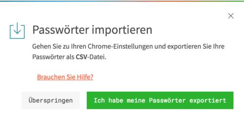 Dashlane Passwörter importieren aus Google