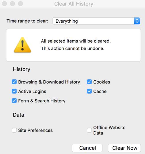 Firefox Browserverlauf löschen